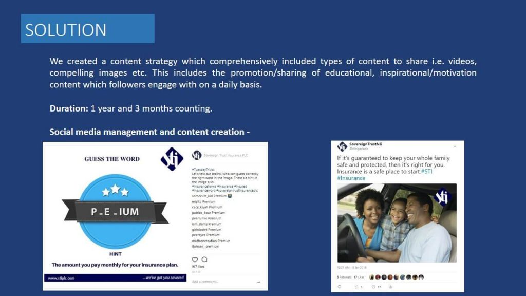 Sovereign Trust Insurance social media and content management