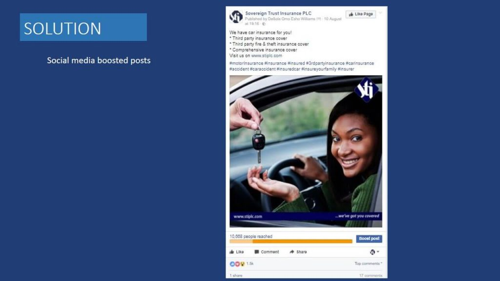 Sovereign Trust Insurance social media boosted post