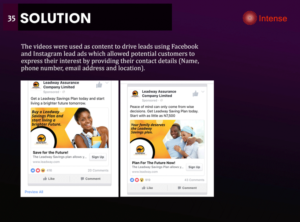 leadway assurance savings video strategy for facebook
