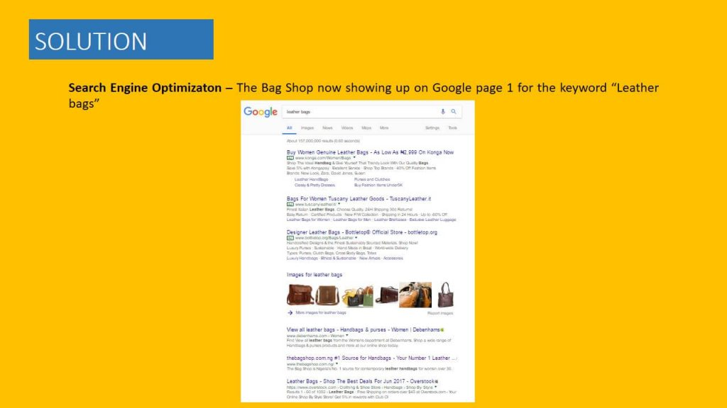 the bag shop seo campaign